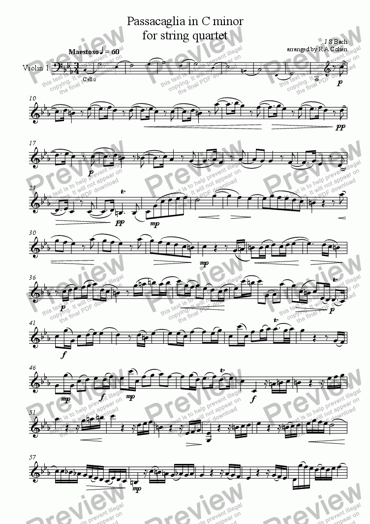 page one of the Violin 1 part from Bach - PASSACAGLIA in C Minor - for string quartet