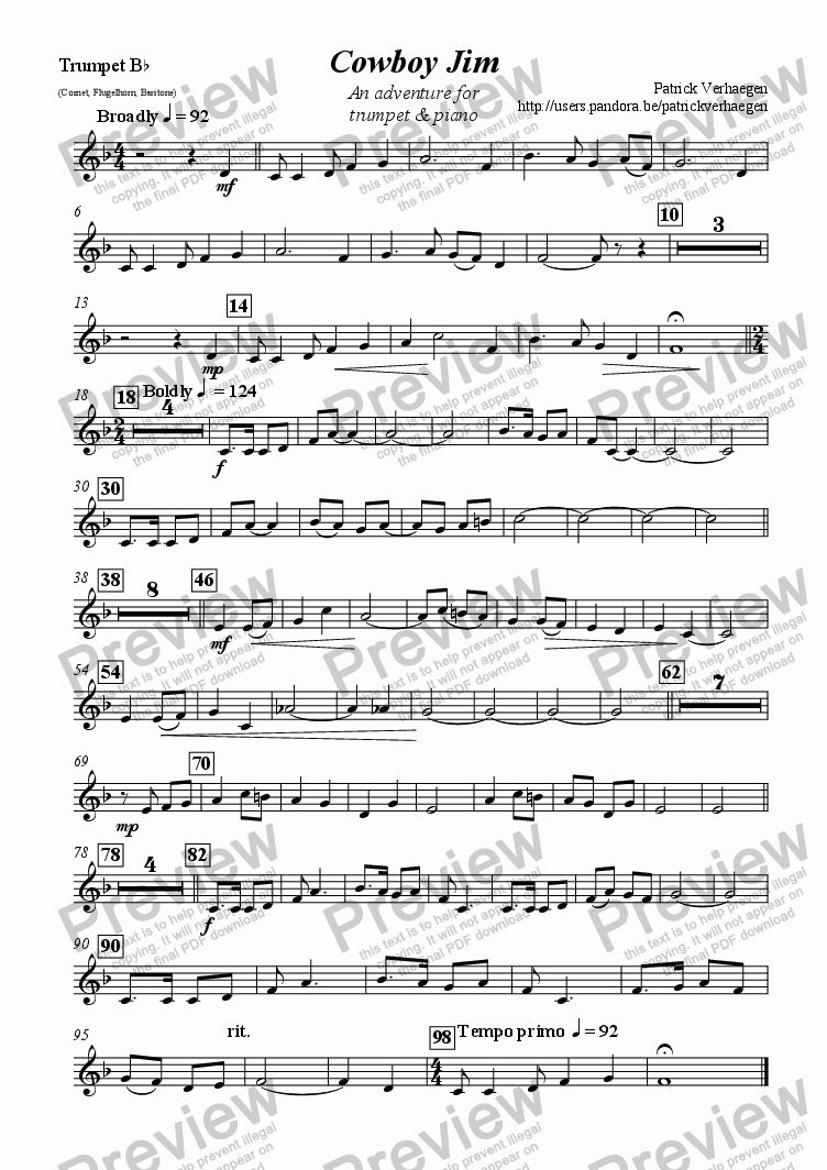 page one of the trumpet part from Cowboy Jim (for trumpet & piano)