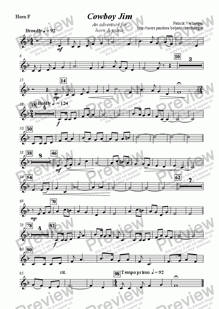 page one of the horn F part from Cowboy Jim (for horn & piano)