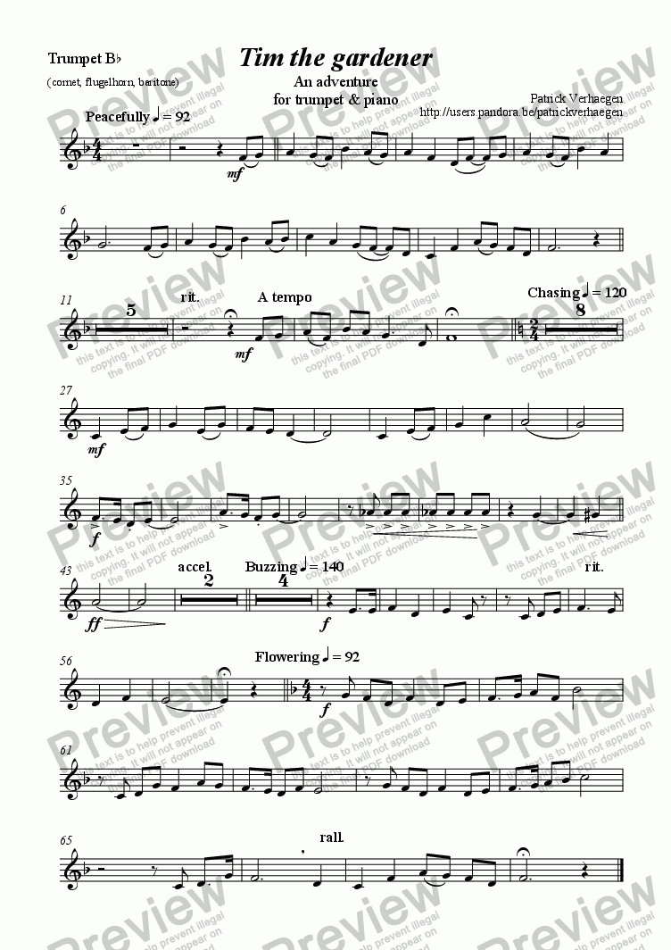 page one of the trumpet part from Tim the Gardener (for trumpet & piano)