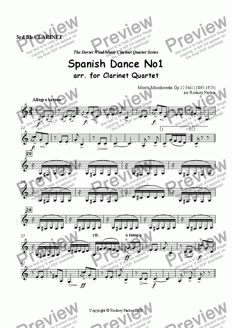 page one of the 3rd Clarinet part from Spanish Dance No1 arr. for Clarinet Quartet