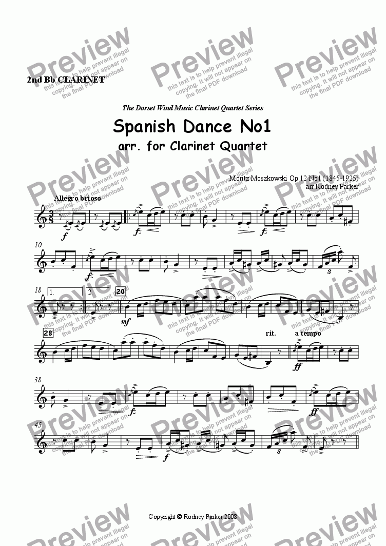 page one of the 2nd Clarinet part from Spanish Dance No1 arr. for Clarinet Quartet