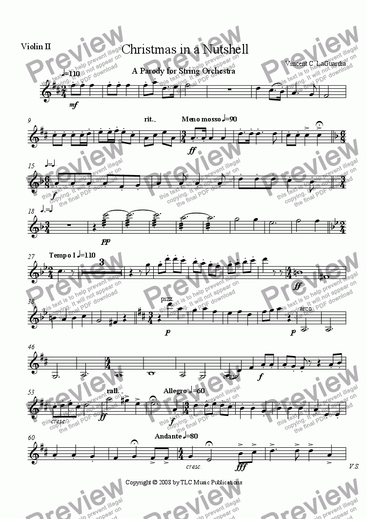 "page one of the Violin 2 part from ""Christmas in a Nutshell"" a Novelty Piece for String Orchestra"
