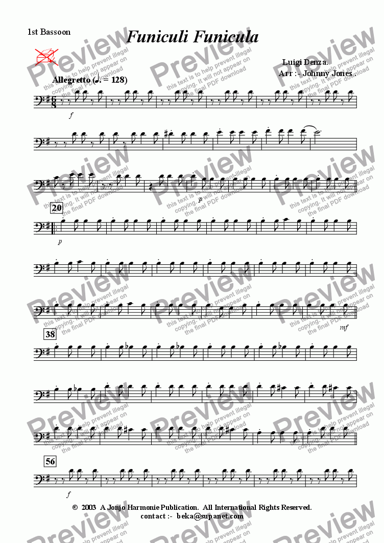 page one of the 1st Bassoon part from Funicul� Funicula   (2 Oboe and 2 Bassoon)