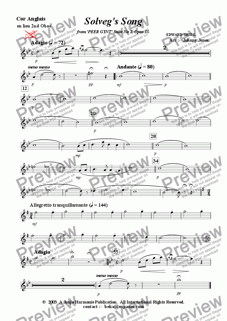 page one of the Cor Anglais for 2nd Oboe part from Solveg's Song   (2 Oboes and 2 Bassoons)