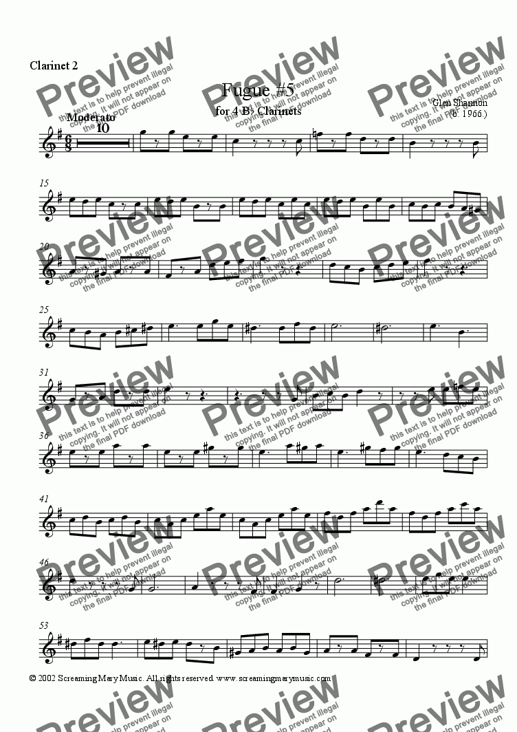 page one of the Clarinet 2 part from Fugue for 4 Clarinets #5