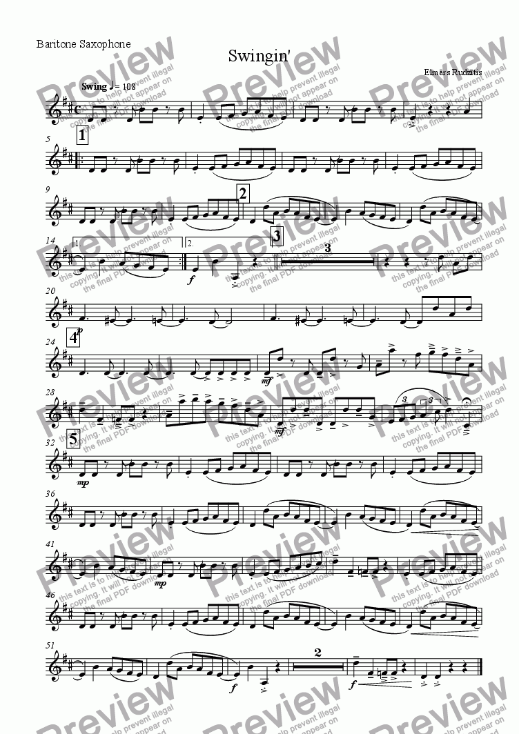 page one of the Baritone saxophone part from Swingin (For Sax Quartet)