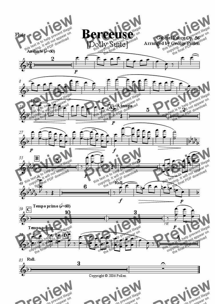 page one of the Flute part from Berceuse [Dolly Suite] (CB)