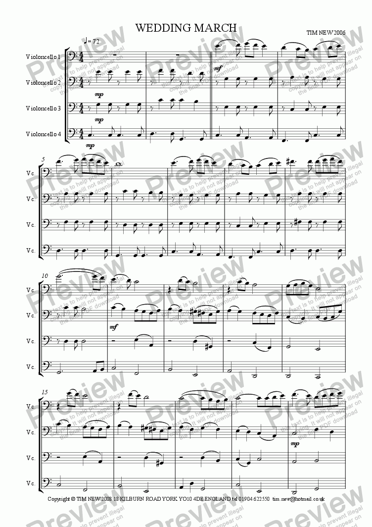 page one of the violoncello 1 part from Wedding March ('cello quartet)