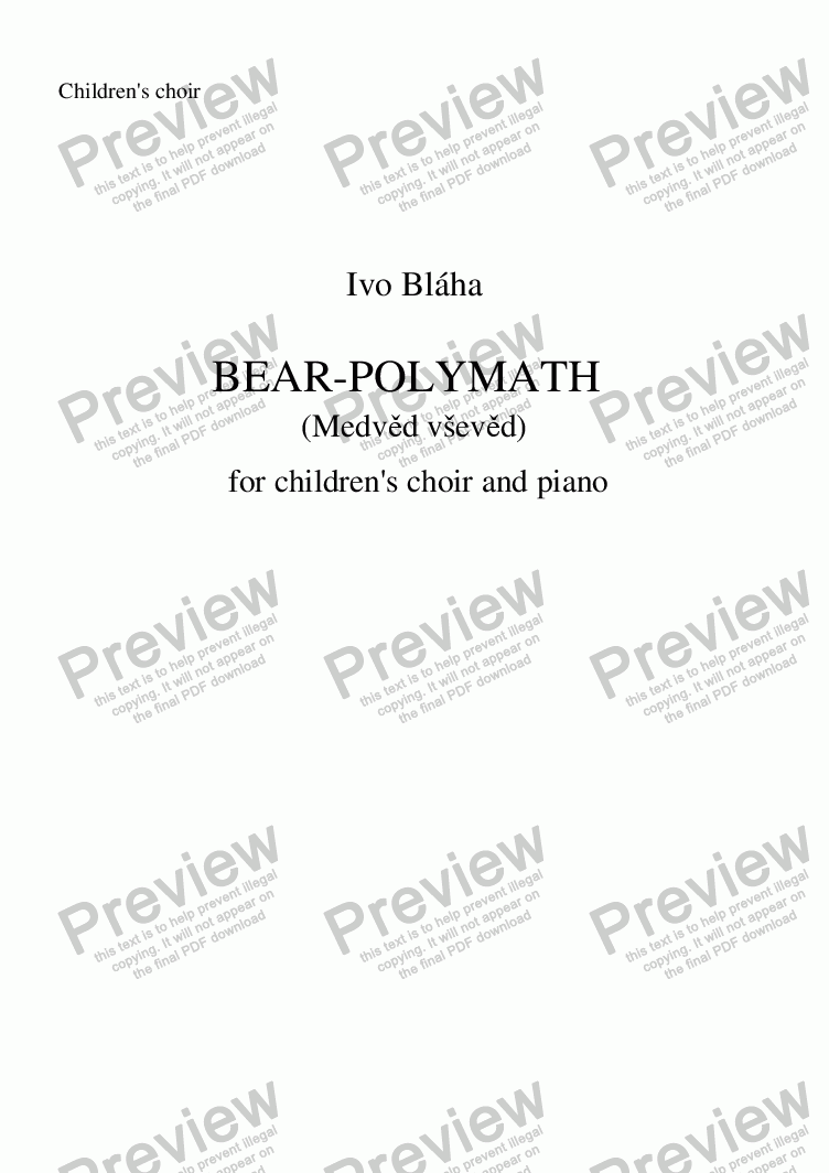 page one of the Choir part from BEAR-POLYMATH (Medvěd vševěd) for children's choir and piano (English words)
