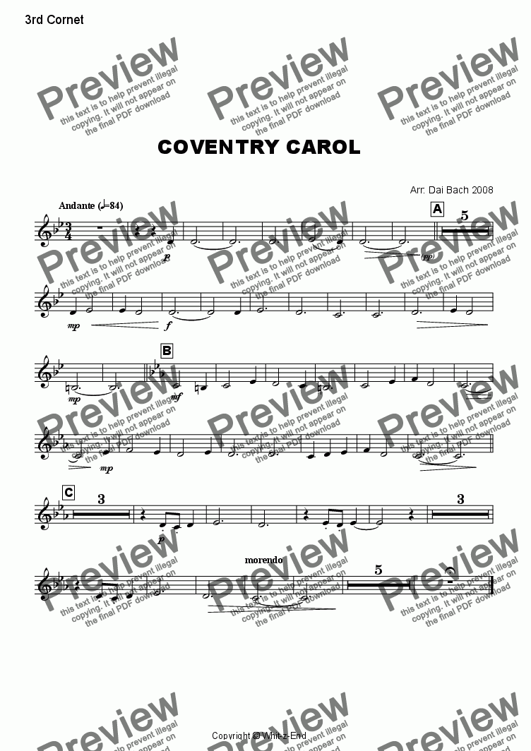 page one of the 3rd Cornet part from Coventry Carol
