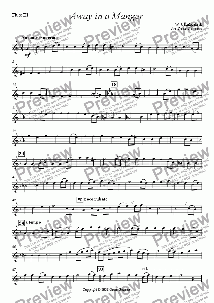 page one of the Flute III part from Away in a Manger (Flute quartet)