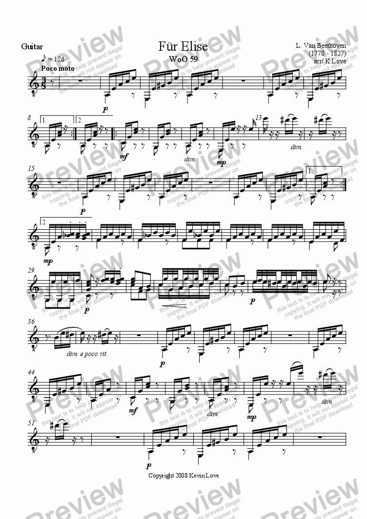 page one of the Guitar part from Fur Elise (Flute and Guitar)