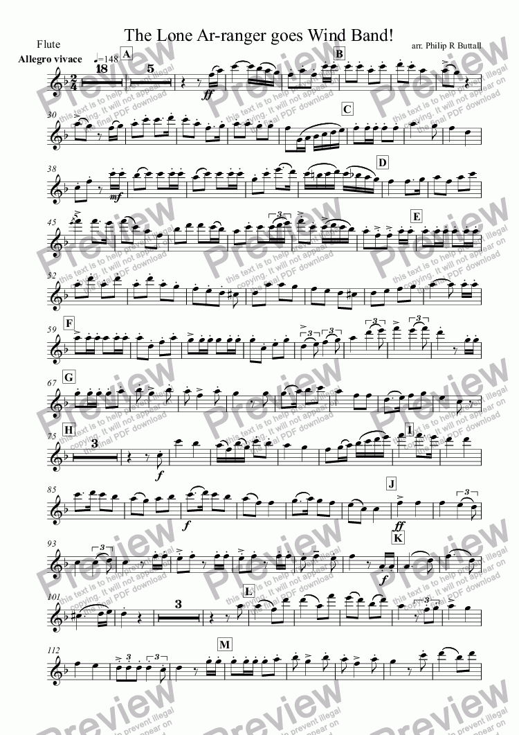 page one of the Flute part from The Lone Ar-ranger! (Wind Band)