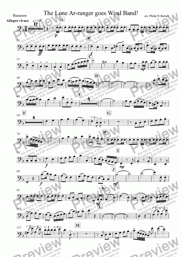 page one of the Bassoon part from The Lone Ar-ranger! (Wind Band)