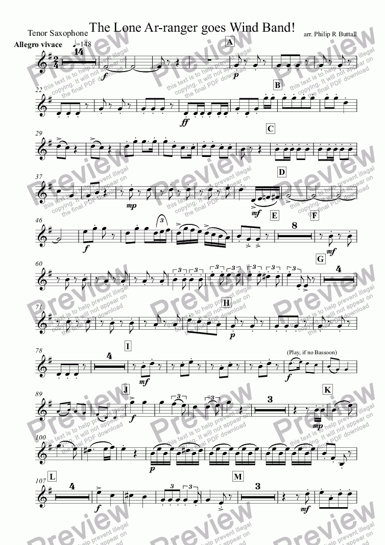 page one of the Tenor Saxophone part from The Lone Ar-ranger! (Wind Band)