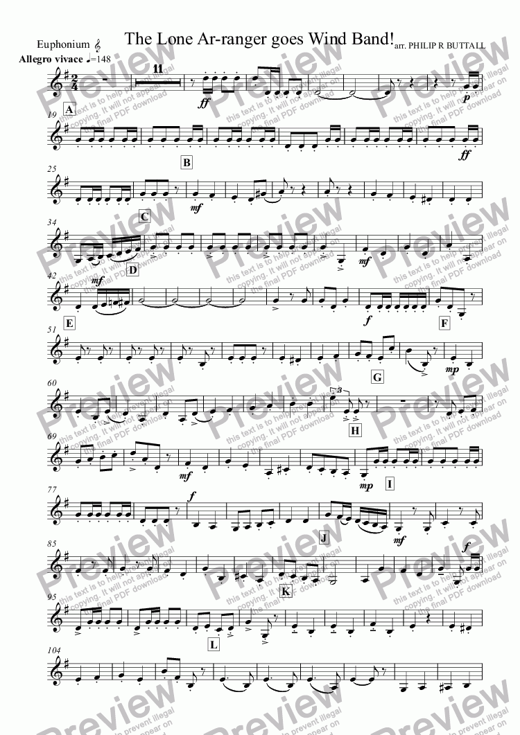 page one of the Euphonium (Treble clef) part from The Lone Ar-ranger! (Wind Band)