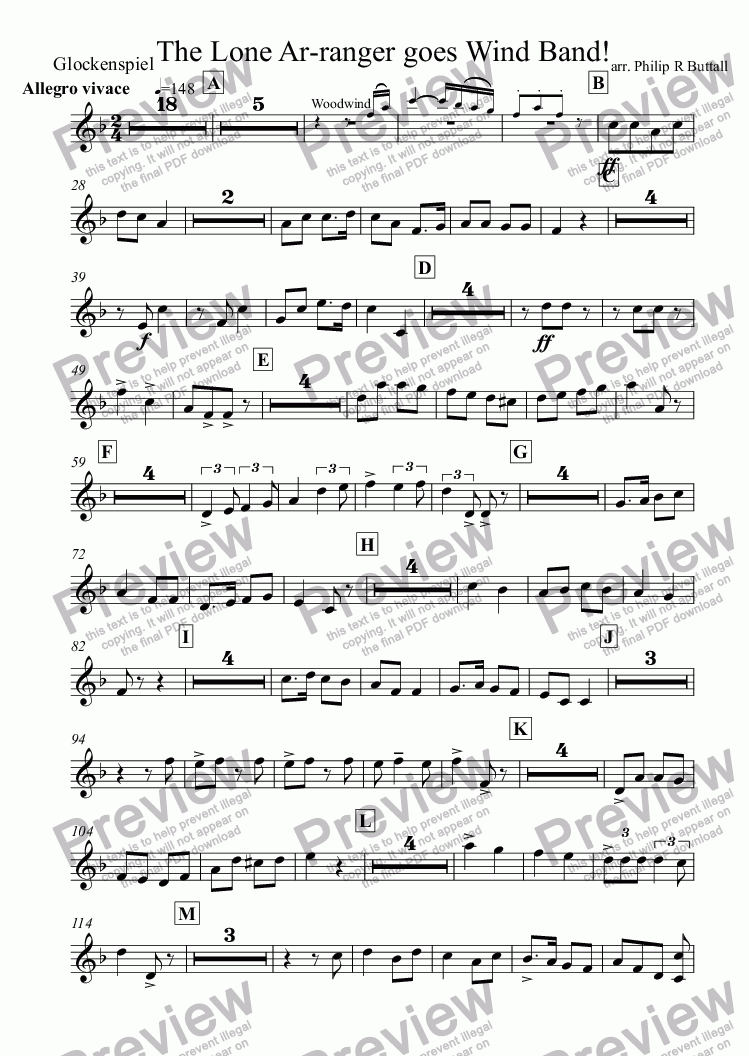 page one of the Glockenspiel part from The Lone Ar-ranger! (Wind Band)