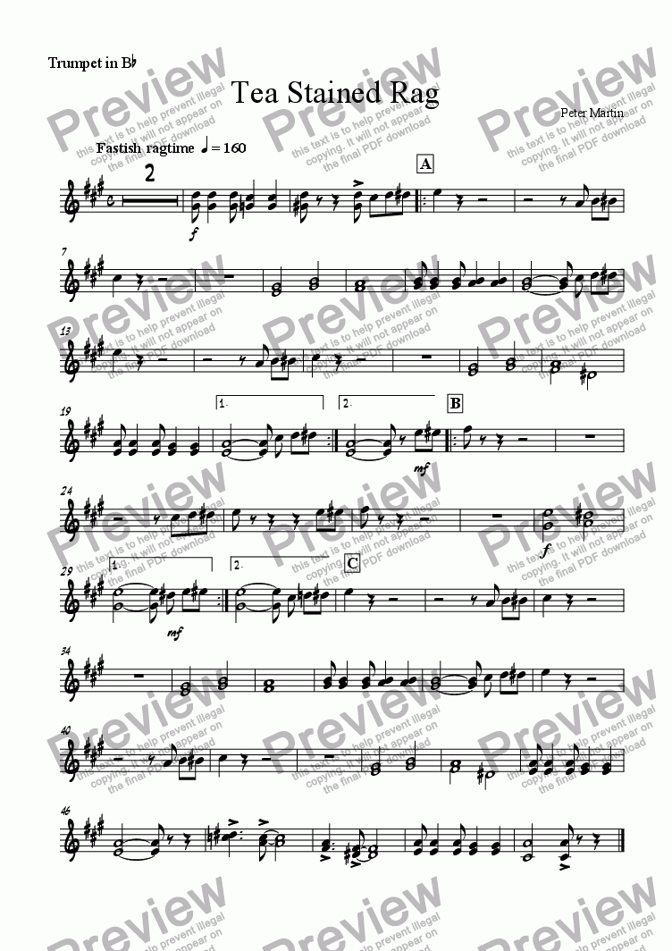 page one of the Trumpet in Bb part from Tea Stained Rag