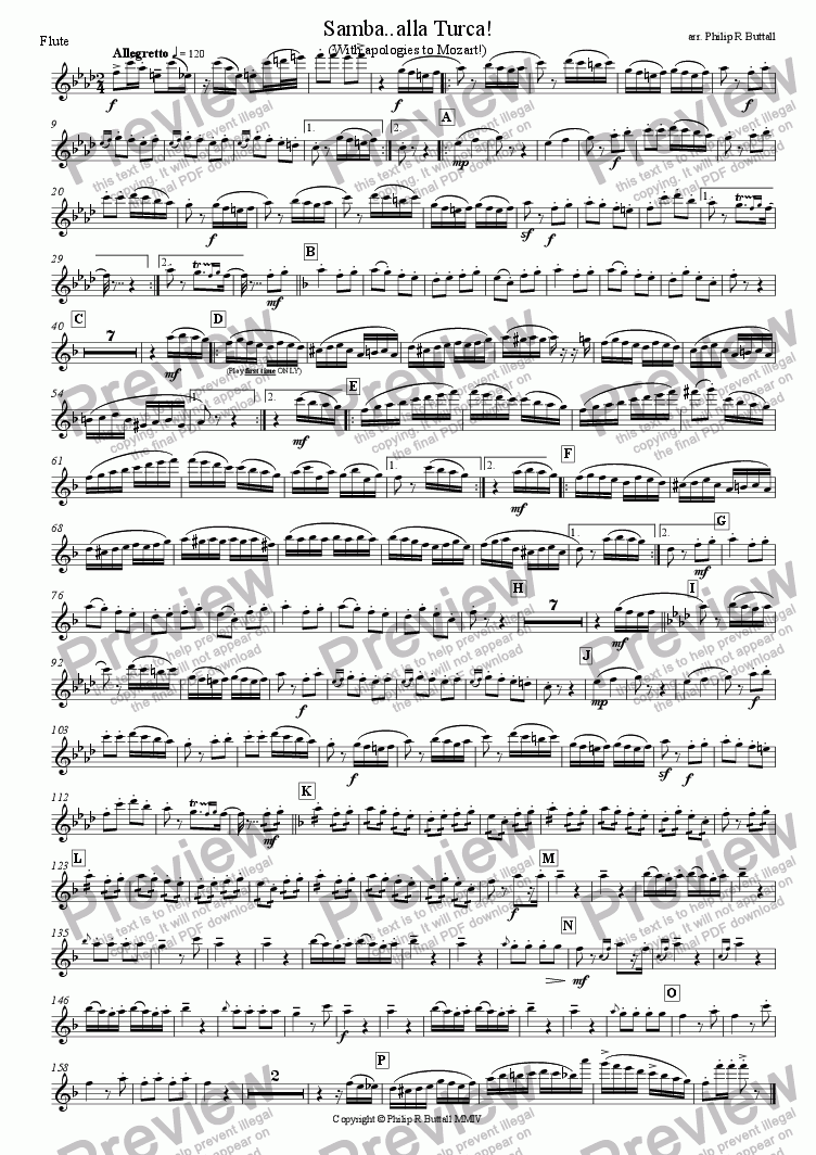 page one of the Flute part from Samba..alla Turca! (Wind Band)
