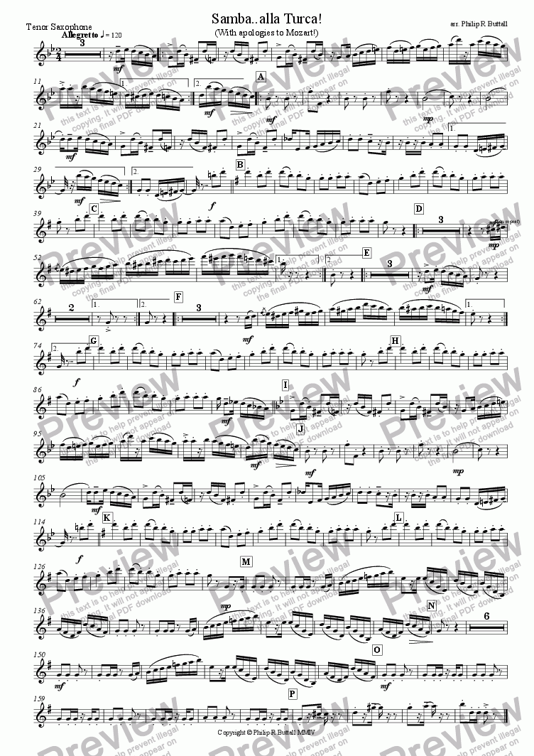 page one of the Tenor Saxophone part from Samba..alla Turca! (Wind Band)