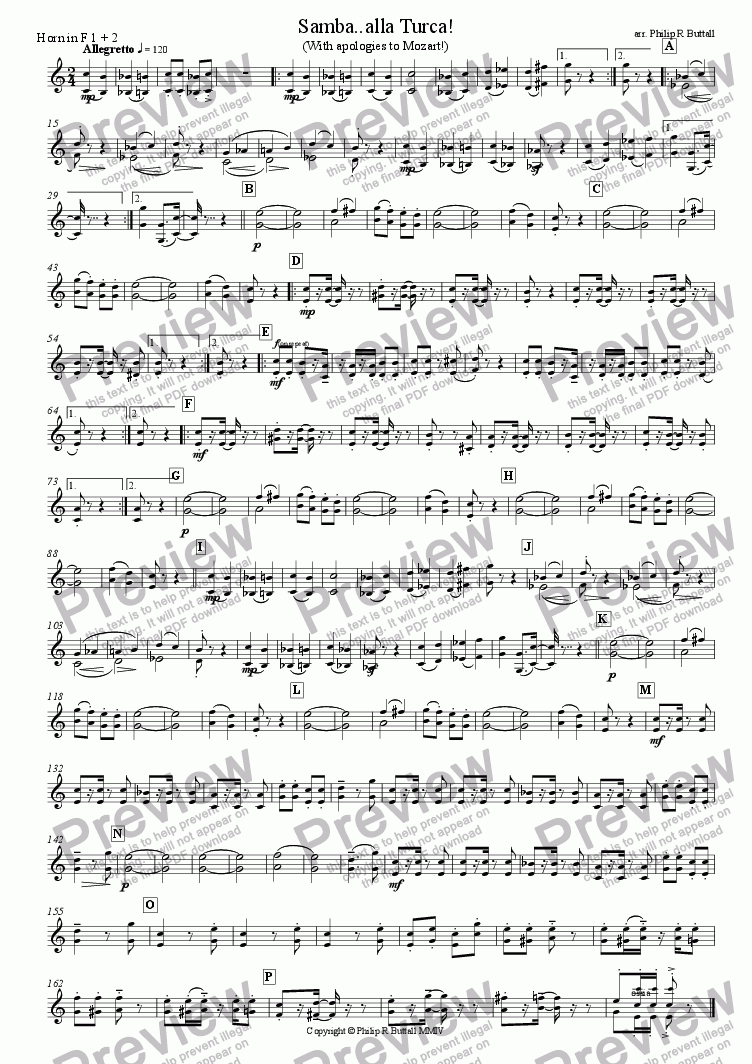 page one of the Horn in F 1+2 part from Samba..alla Turca! (Wind Band)