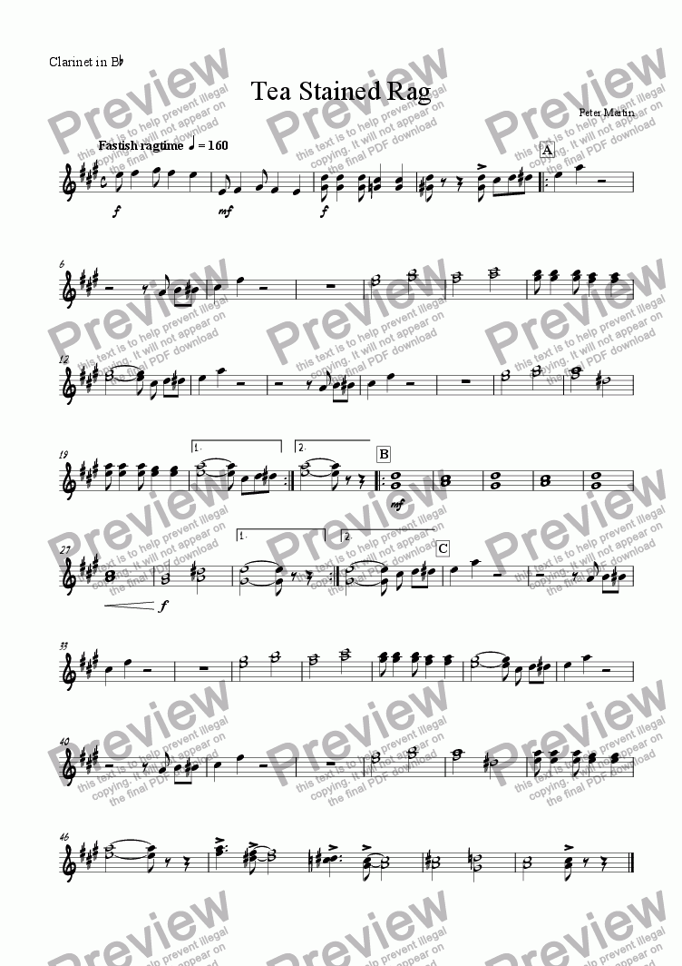 page one of the Clarinet in Bb part from Tea Stained Rag