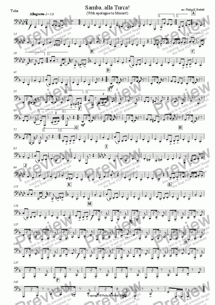 page one of the Tuba part from Samba..alla Turca! (Wind Band)
