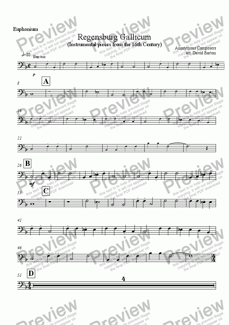 "page one of the Euphonium part from Renaissance Music for Band: ""Regensburg Gallicum"" for Young Bands"