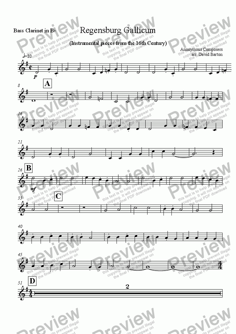 "page one of the Bass Clarinet part from Renaissance Music for Band: ""Regensburg Gallicum"" for Young Bands"