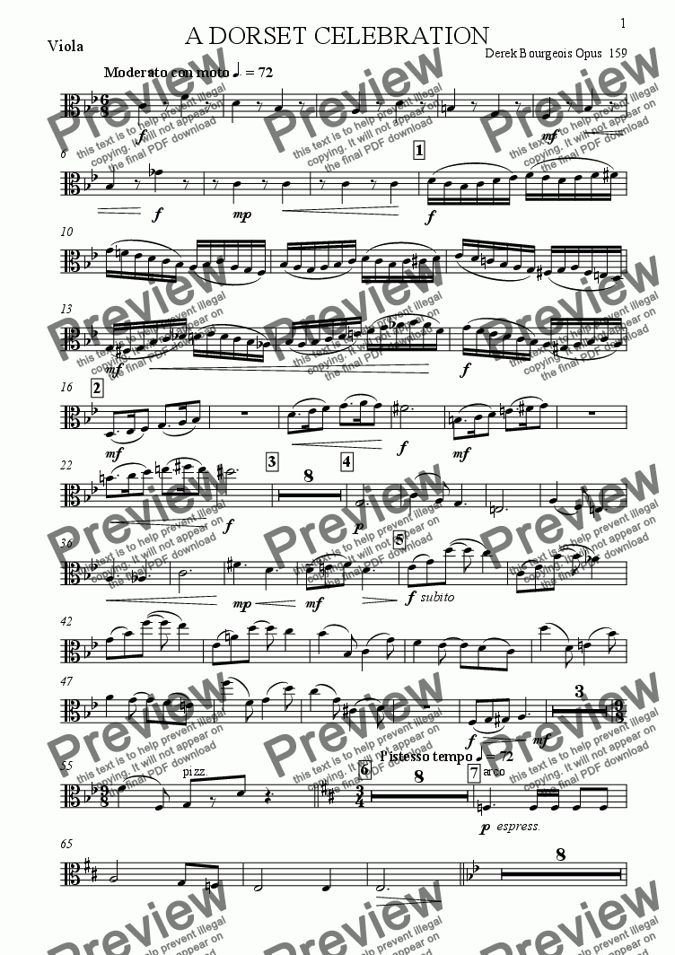 page one of the Viola part from A Dorset Celebration