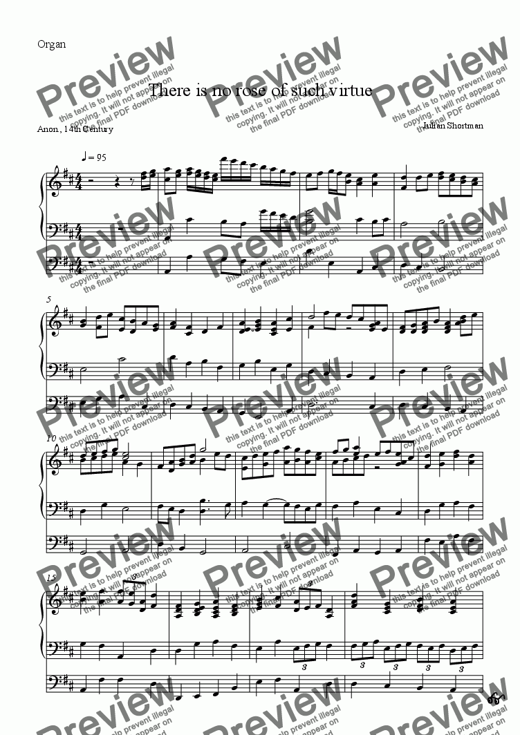 page one of the Organ part from There is no rose of such virtue - SATB Christmas Choral Choir (previously free)