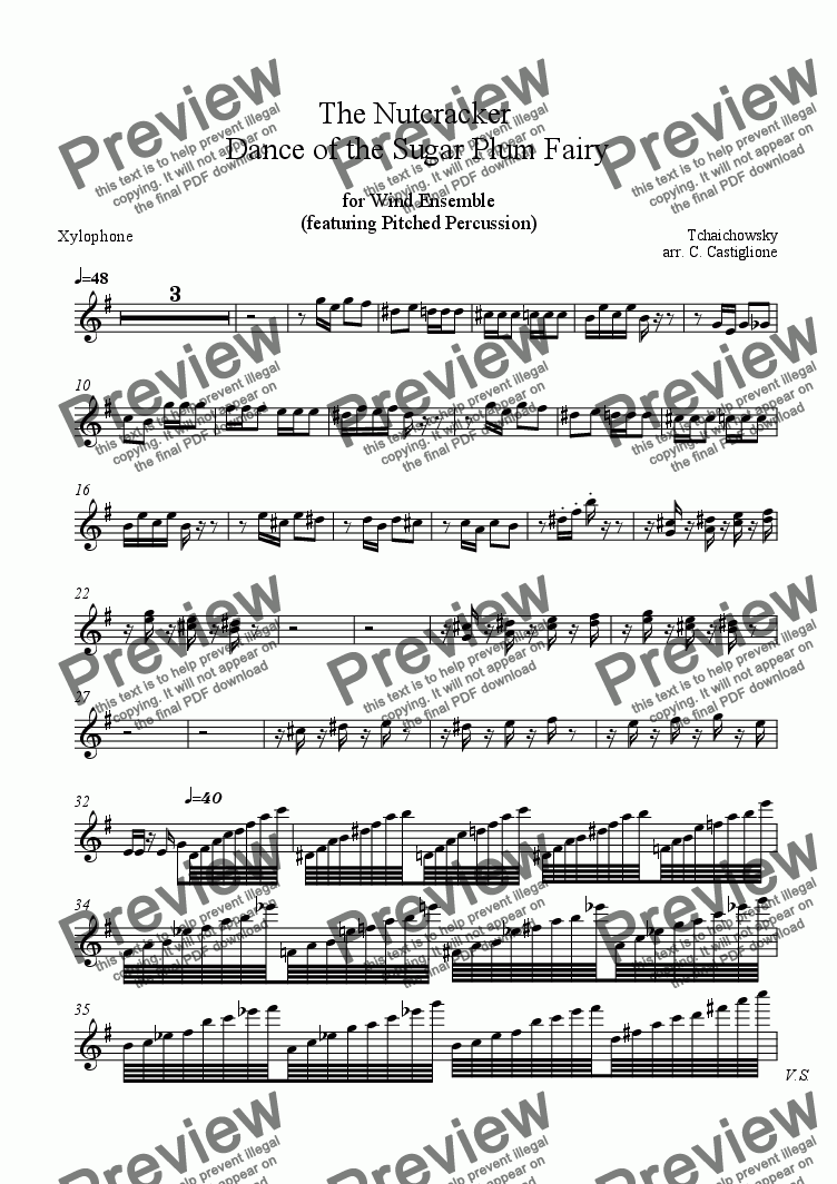 page one of the Xylophone part from Nutcracker - Dance of the Sugar Plum Fairy