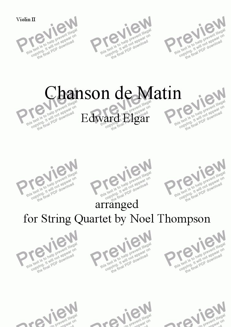 page one of the violin 2 part from Chanson de Matin(Elgar) arranged for string quartet - edited