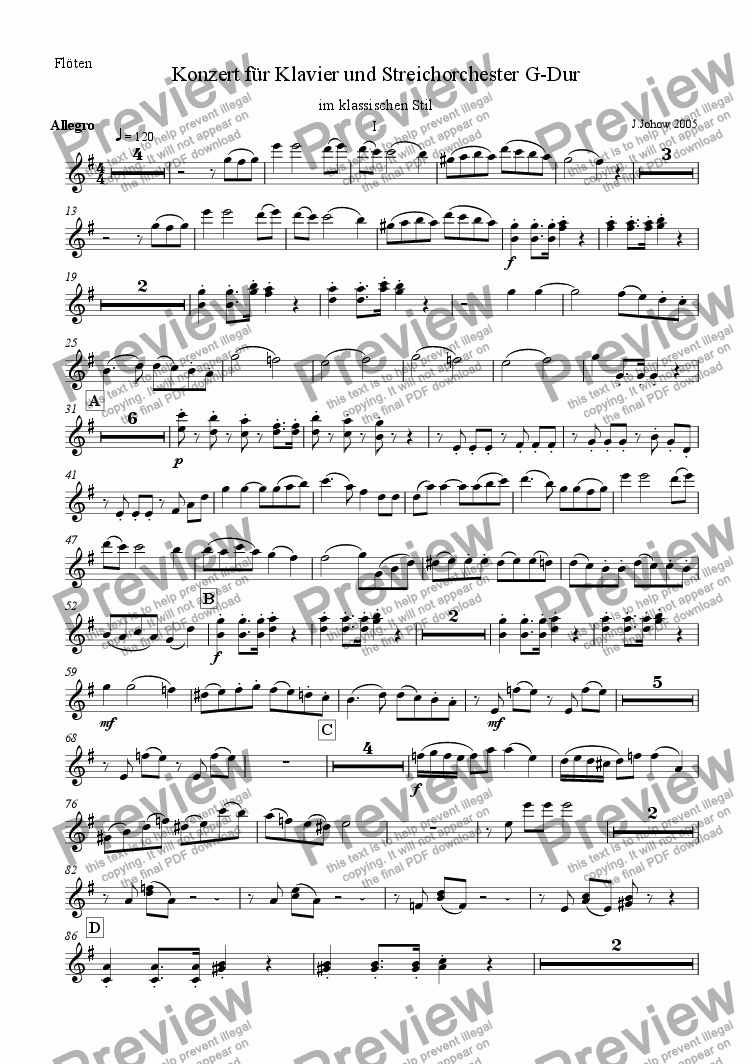 page one of the Fl part from Piano Concert Part 1 Allegro Strings/Fl/Cl