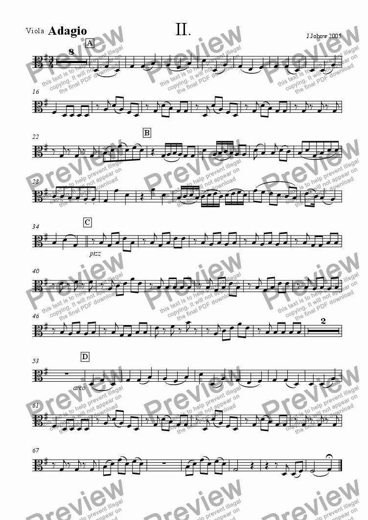 page one of the Vla part from Piano Concert Part 2 Adagio Strings/Fl/Cl