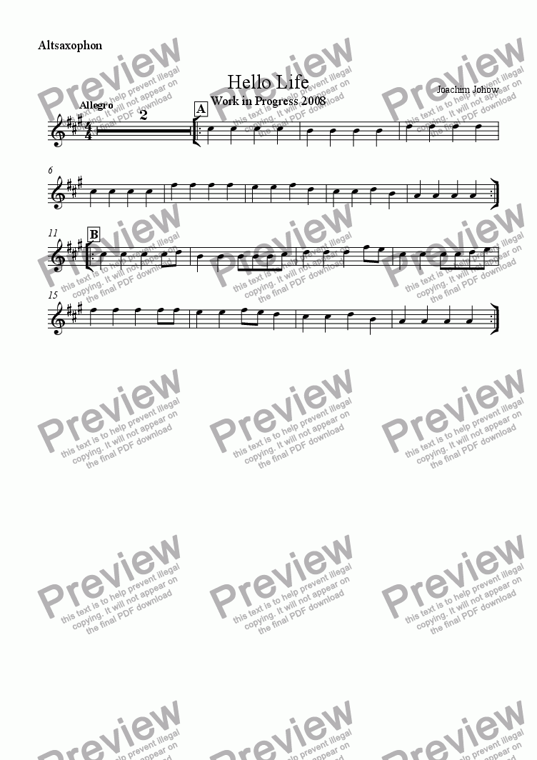 page one of the Alt Sax part from School Music 06 Hello Life A (Work in Progress)
