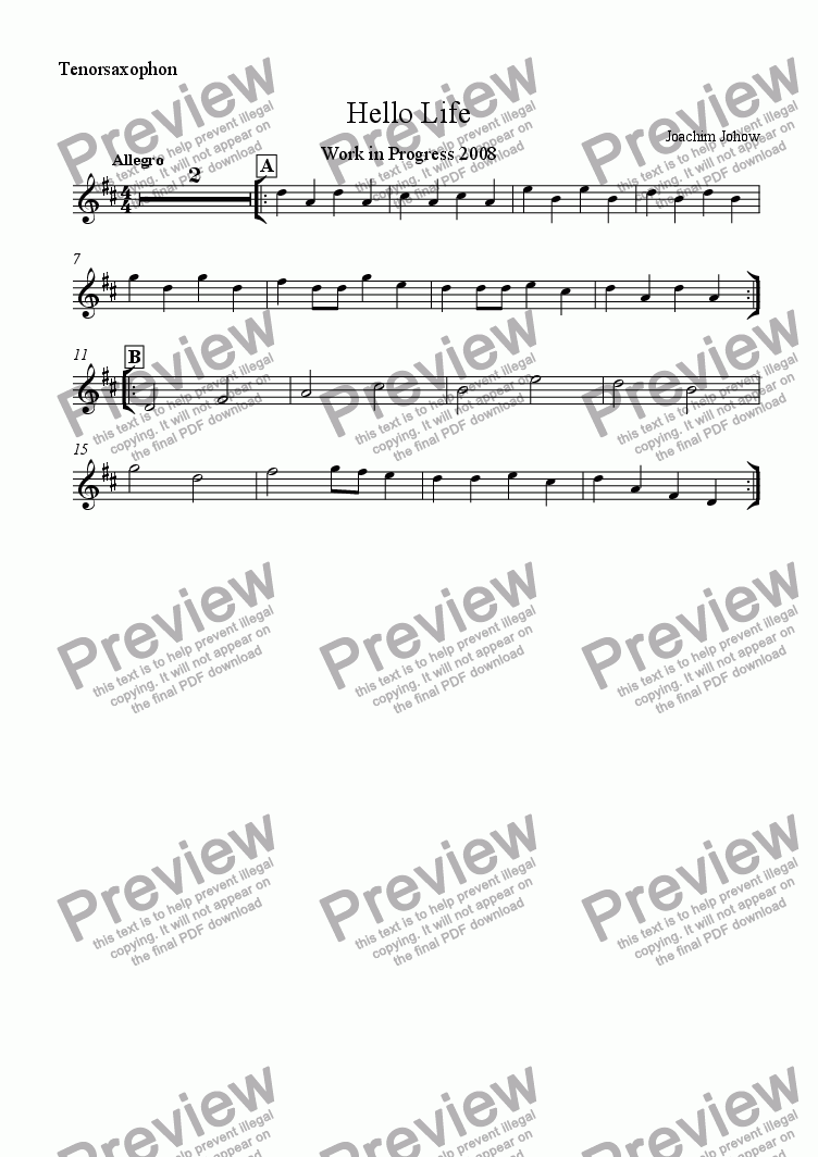 page one of the Ten Sax part from School Music 06 Hello Life A (Work in Progress)
