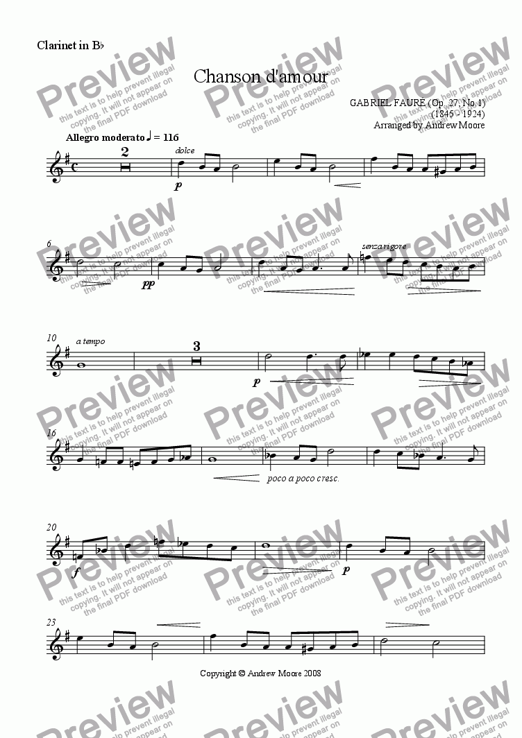 page one of the Clarinet part from 'Chanson d'amour' arr. for Clarinet & piano