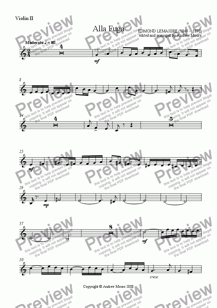 page one of the Violin 2 part from 'Alla Fuga' for String Quartet
