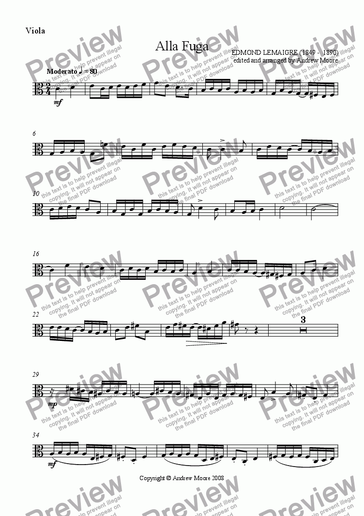page one of the Viola part from 'Alla Fuga' for String Quartet