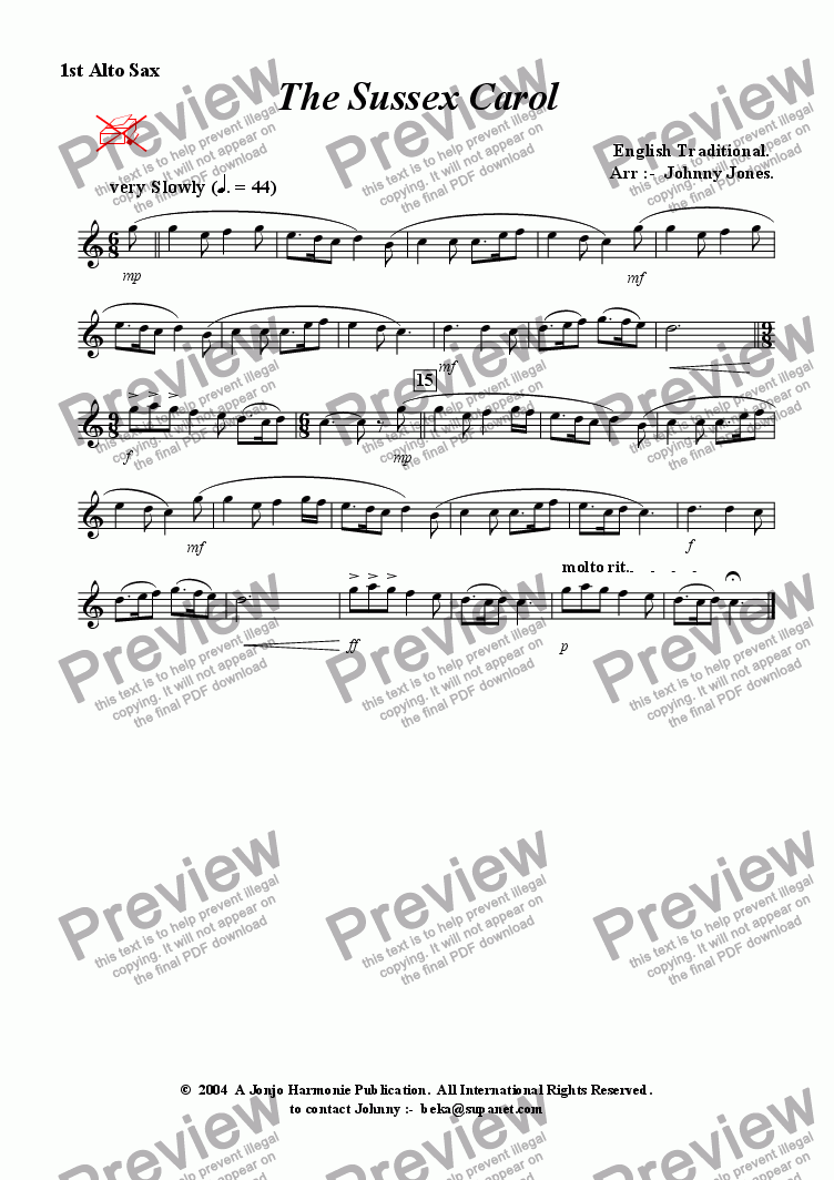 page one of the 1st Alto Saxophone part from Sussex Carol, The   (Christmas,  3 Saxophones  AAA and, or  AAT)
