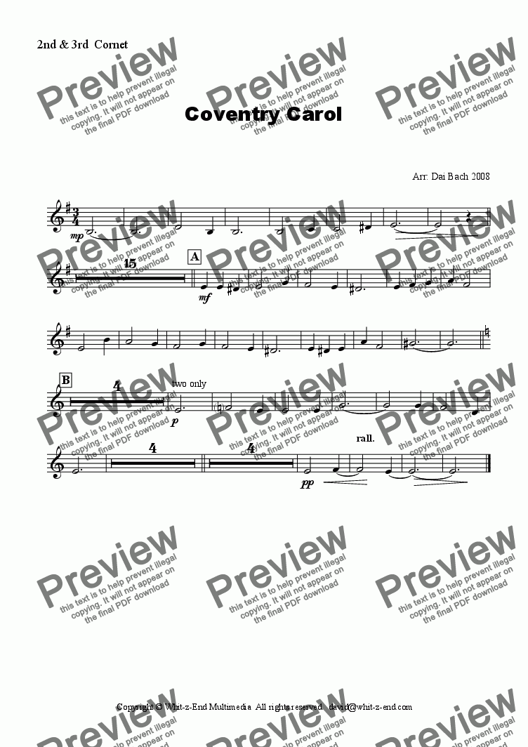 page one of the 2nd & 3rd Cornets part from The Coventry Carol