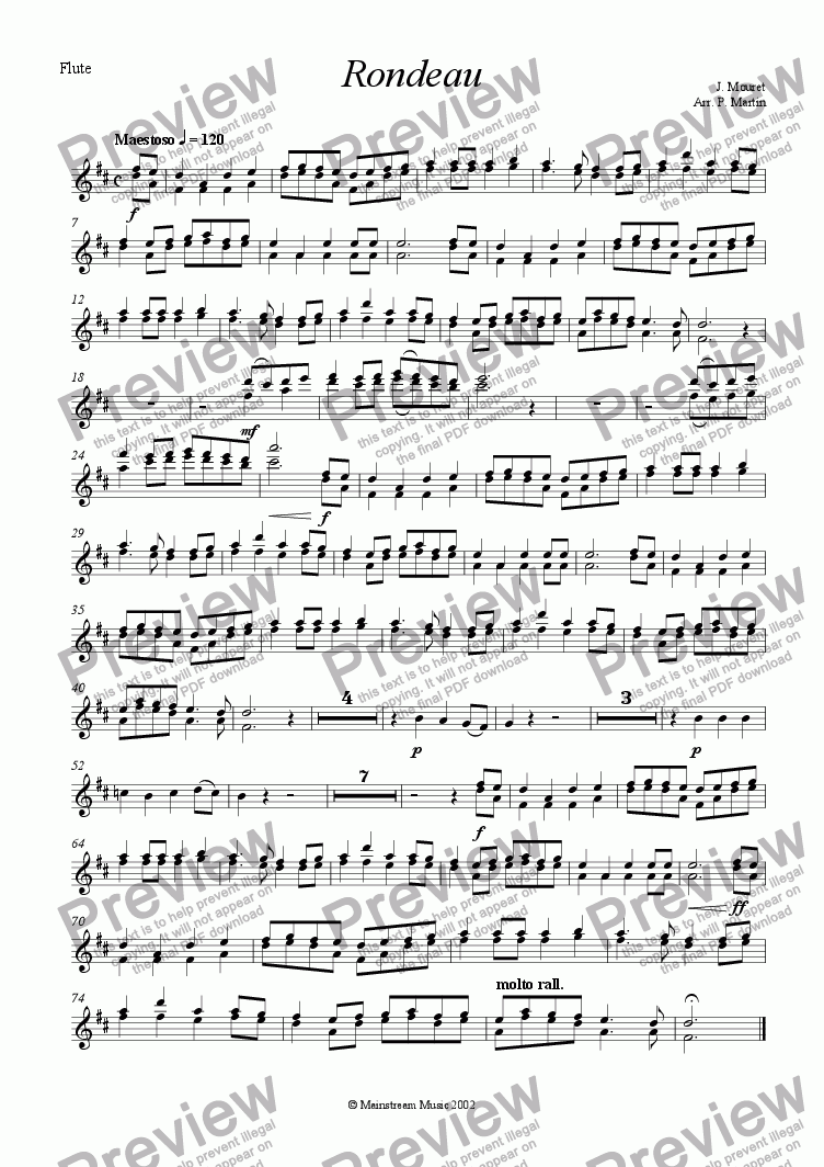 page one of the Flute part from Rondeau