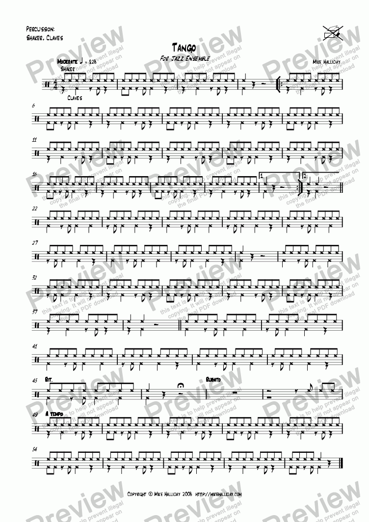 page one of the Percussion part from Tango
