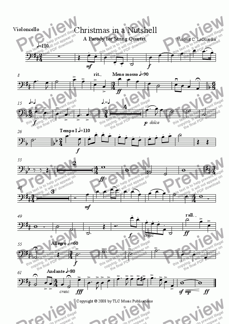 "page one of the Cello part from ""Christmas in a Nutshell"" (A Parody for String Quartet)"