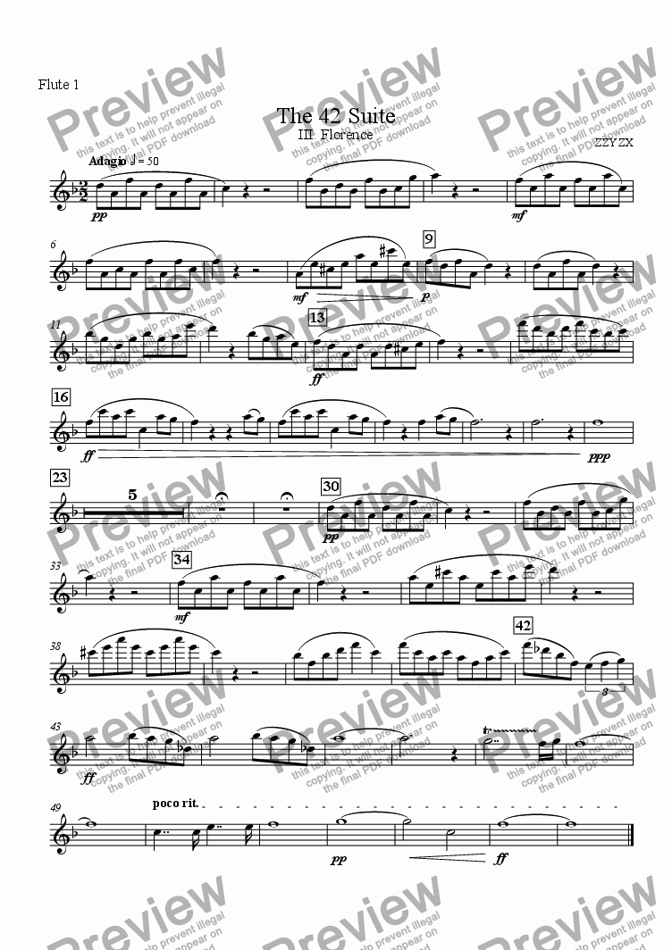 page one of the Flute 1 part from The 42 Suite, III. Florence
