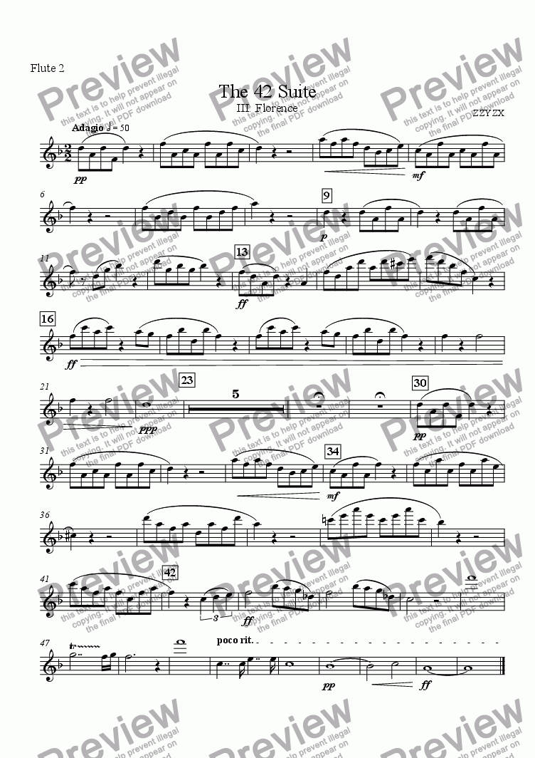 page one of the Flute 2 part from The 42 Suite, III. Florence
