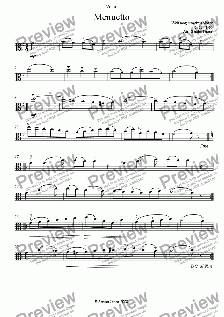 page one of the Viola part from Menuetto