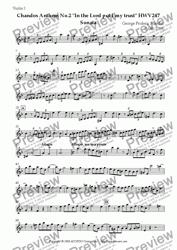 "page one of the Violin I part from Chandos Anthem No.2 ""In the Lord put I my trust"" HWV247 Sonata"